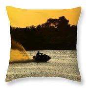 Sunset Ski Throw Pillow