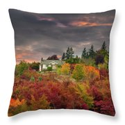 Sunset Sky Over Farm House In Rural Oregon Throw Pillow