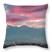 Sunset Sky Over Port Of Vancouver Bc Throw Pillow