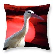 Sunset Stork Throw Pillow
