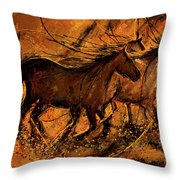 Sunset Stride - Horses In The Wild Sepia Painting Throw Pillow by Lourry Legarde