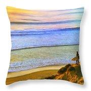 Sunset Surf At La Jolla Throw Pillow