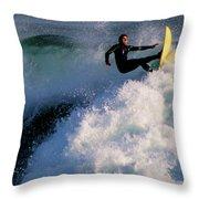 Sunset Surfing Throw Pillow