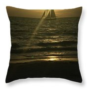 Sunset Through Sailboat Throw Pillow