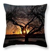 Sunset Through The Tree Throw Pillow