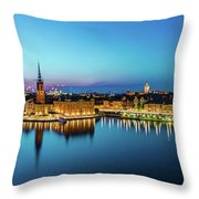 Sunset To Blue Hour Panorama Over Gamla Stan In Stockholm Throw Pillow