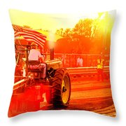 Sunset Tractor Pull Throw Pillow