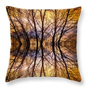 Sunset Tree Silhouette Abstract 1 Throw Pillow
