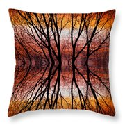 Sunset Tree Silhouette Abstract 2 Throw Pillow