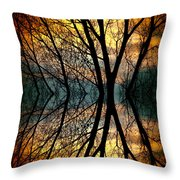 Sunset Tree Silhouette Abstract 3 Throw Pillow