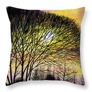 Sunset Tree Silhouette Throw Pillow