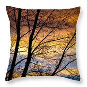 Sunset Tree Silhouette Throw Pillow