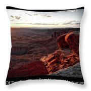 Sunset Valley Of The Gods Utah 09 Text Black Throw Pillow