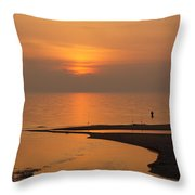 Sunset While Fishing At River Mouth And Lake Michigan Throw Pillow