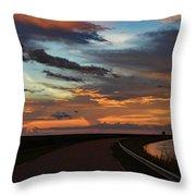 Florida Sunset Winding Road Throw Pillow