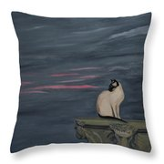 Sunset With A Siamese Cat On A Balustrade Throw Pillow
