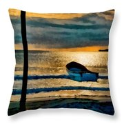 Sunset With Boat Throw Pillow
