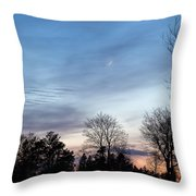 Sunset With Crescent Moon Throw Pillow