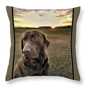 Sunset With My Good Boy Brownie  Throw Pillow