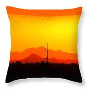 Sunset With Power Pole Throw Pillow