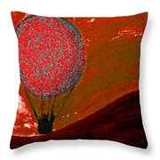 Sunset With Red Hot Air Balloon. Throw Pillow
