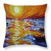 Sunset With Three Boats Throw Pillow