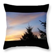 Sunset With Two Pine Trees Throw Pillow