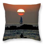 Sunset With Yacht And Surfer Throw Pillow