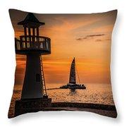Sunsets And Sailboats Throw Pillow