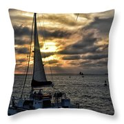Sunsets And Sails Throw Pillow