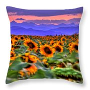 Sunsets And Sunflowers Throw Pillow