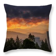 Sunsrise Over City Of Portland And Mount Hood Throw Pillow