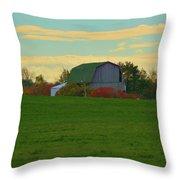 Sunsset On A Barn Throw Pillow