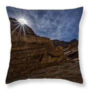 Sunstar Over Mosaic Canyon - Death Valley Throw Pillow