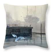 Sunup At The Docks Throw Pillow