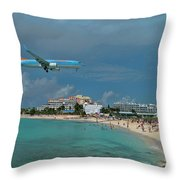 Sunwing Airline At Sxm Airport Throw Pillow
