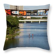 Sup Stand Up Paddle Board Couple Row Under The Focus One Point And Breathe Throw Pillow