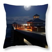 Super Moon At Juno Pier Throw Pillow
