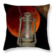 Eerie Light Of An Eclipsed Super-moon Throw Pillow