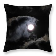 Super Moon Held In The Arc Of Clouds Throw Pillow