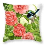 Superb Wren And Camellia Throw Pillow