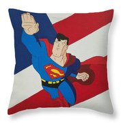 Superman And The Flag Throw Pillow