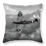 Supermarine Spitfire Vb Black And White Version Throw Pillow