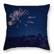 Supermoon And Fireworks  Throw Pillow
