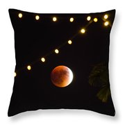 Supermoon And Twinkle Lights Throw Pillow