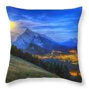 Supermoon Rising Over Mount Rundle Throw Pillow