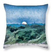 Supermoon Rising - Painted Effect Throw Pillow
