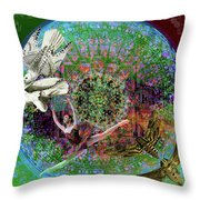 Superstar Electromagnetic Starchild Throw Pillow by Joseph Mosley