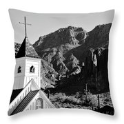 Superstition Mountain And Elvis Church Throw Pillow