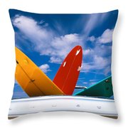 Surboards In A Plymouth Throw Pillow by Dana Edmunds - Printscapes